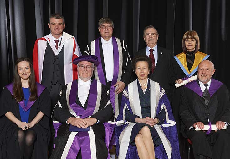 Honorary award winners with the Chancellor and Vice Chancellor