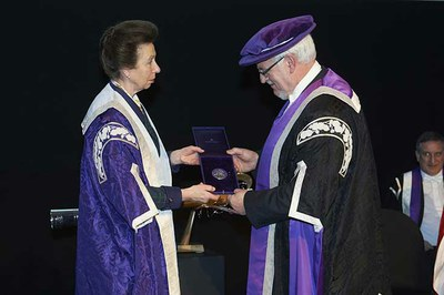 Professor James Fraser receives his award from HRH The Princess Royal, Chancellor of the University of the Highlands and Islands