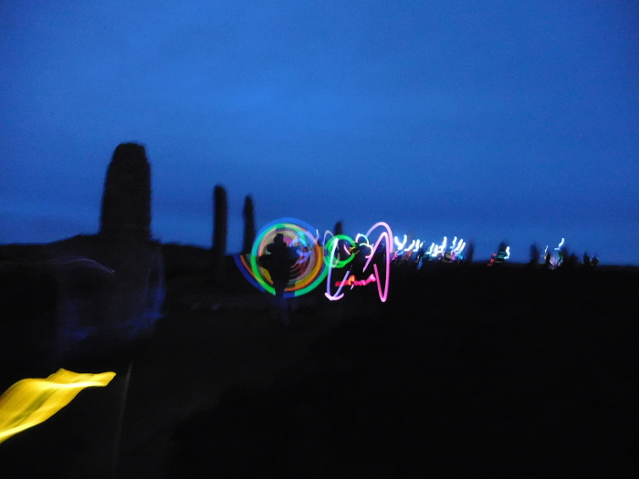 Light painting at standing stones