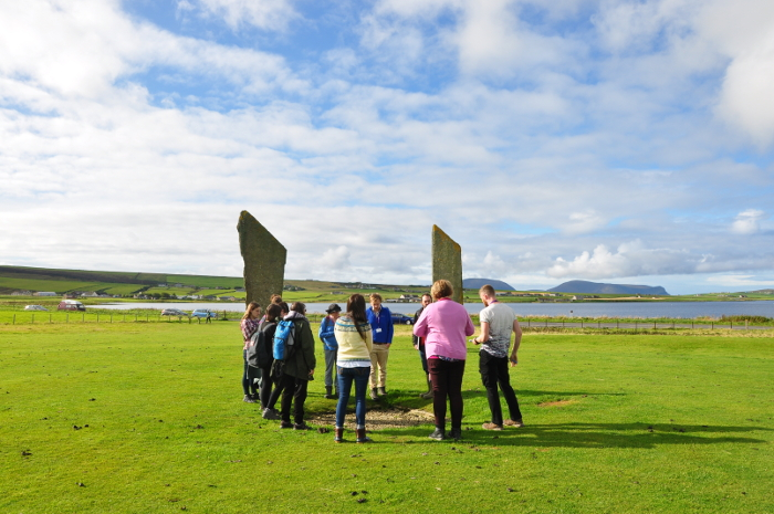 Students at Stones of Stenness