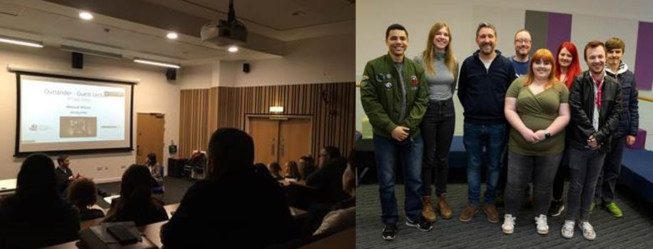 Outlander guest lecture (left) and a group of students with Producer, Michael Wilson (right)