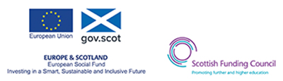 European Social Fund and Scottish Funding Council logos