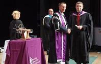 Jacob Simpson, BSc (Hons) Architectural Technology, pictured here with Vice Chancellor Clive Mulholland at our Inverness UHI graduation in 2017