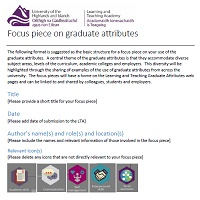 An image of the template for graduate attribute focus pieces
