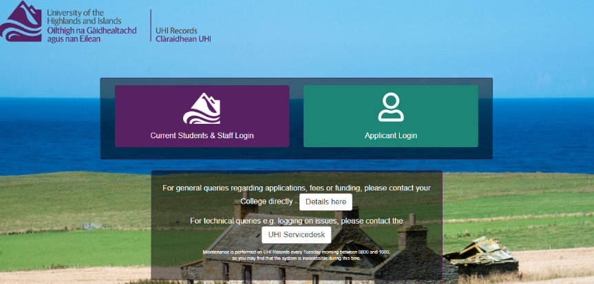 UHI Records login page