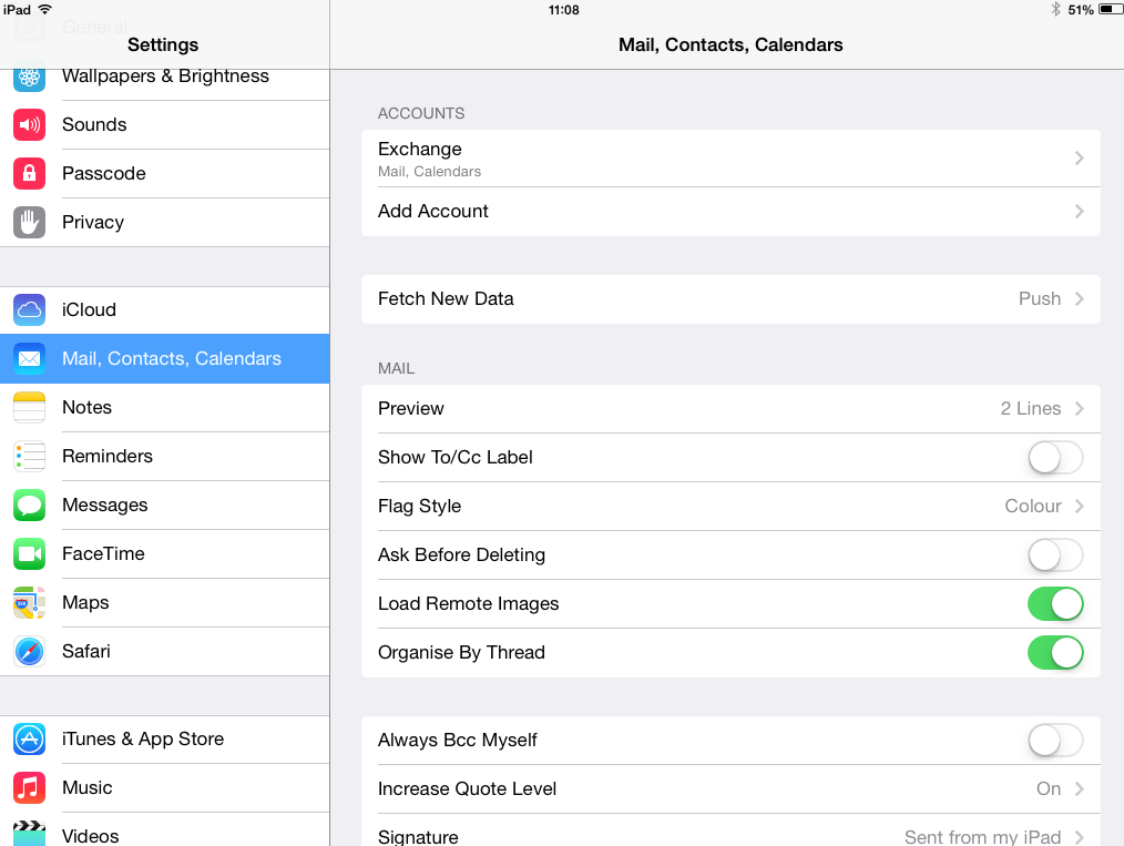 iPad configuration for email