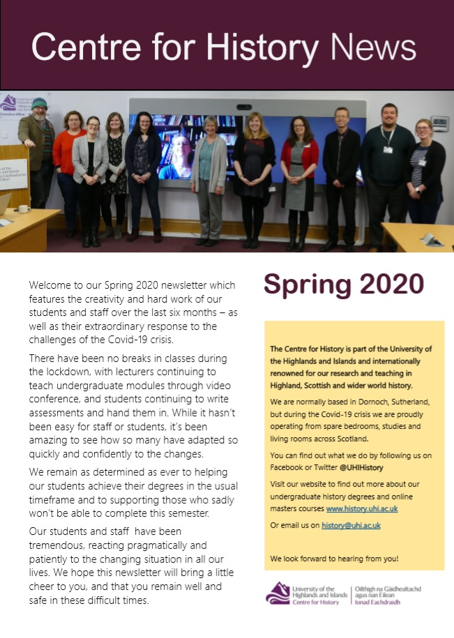 Centre for History news - spring 2020