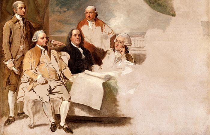 Benjamin West, American Commissioners of the Preliminary Peace Agreement with Great Britain, 1783-1784, London, England. (oil on canvas, unfinished sketch)