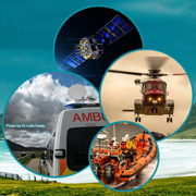 Collage: ambulance, air-sea rescue vehicles