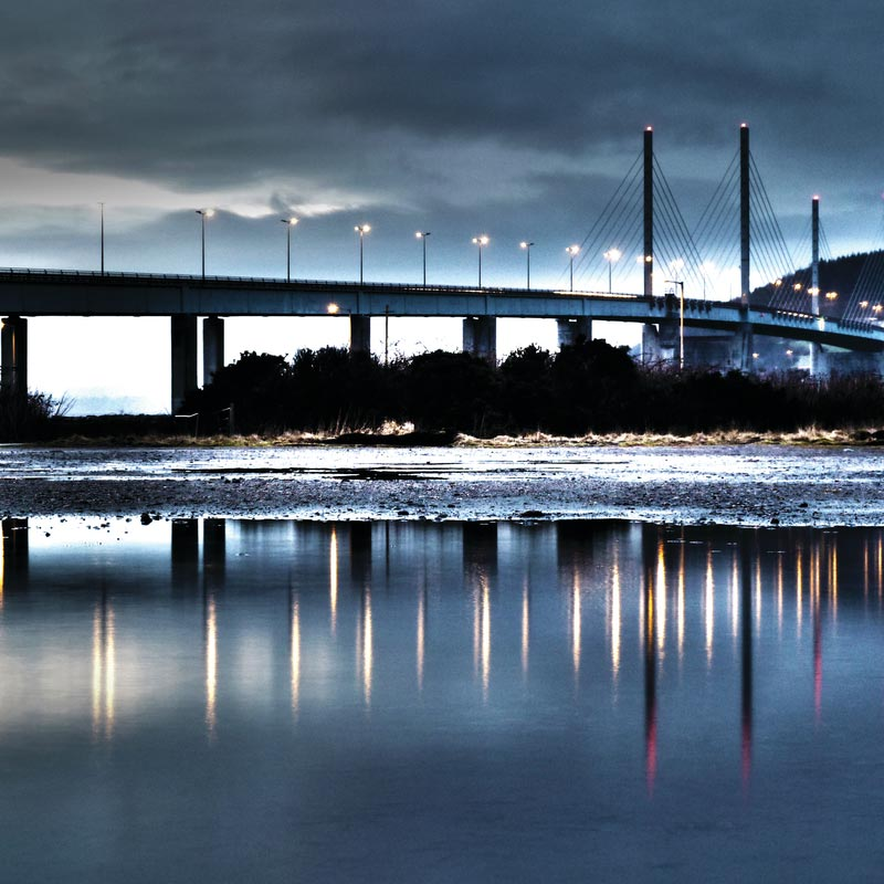 Kessock Bridge reflected in Inverness Firth